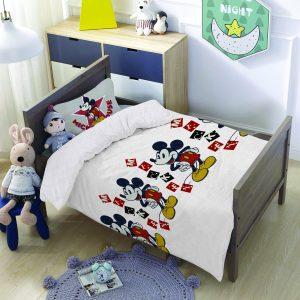 סט למיטת תינוק/מעבר מיקי מאוס לבן