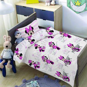 סט למיטת תינוק/מעבר מיני מאוס פסים