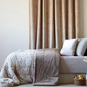 כיסוי מיטה/ שמיכה מדגם גין בצבע בז