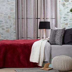 כיסוי מיטה/ שמיכה מדגם דיאמנט בצבע בורדו