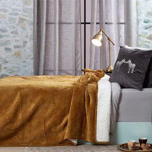 כיסוי מיטה/ שמיכה מדגם דיאמנט בצבע חרדל