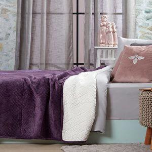 כיסוי מיטה/ שמיכה מדגם דיאמנט בצבע סגול