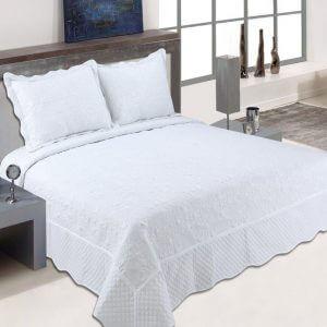 כיסוי מיטה מדגם דיאנה בצבע לבן