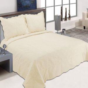 כיסוי מיטה מדגם דיאנה בצבע שמנת