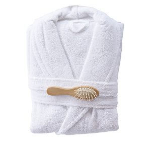חלוק רחצה מגבת בצבע לבן