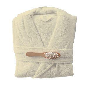חלוק רחצה מגבת בצבע שמנת