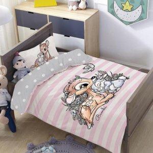 סט למיטת תינוק/מעבר במבי פסים ורוד