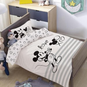 סט למיטת תינוק/מעבר מיקי לבן פסים