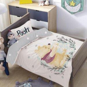 סט למיטת תינוק/מעבר פו אפור